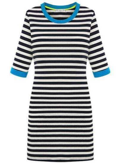 Blue Trims Contrast Black White Stripes Half Sleeve Dress