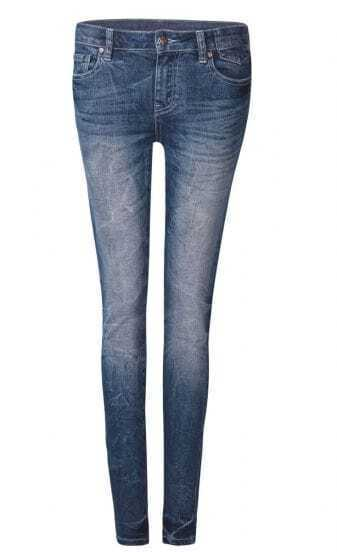 Blue Acid Wash Whiskered Skinny Jeans