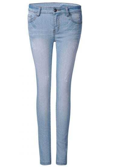 Light Wash Blue Frayed Distressed Jeans