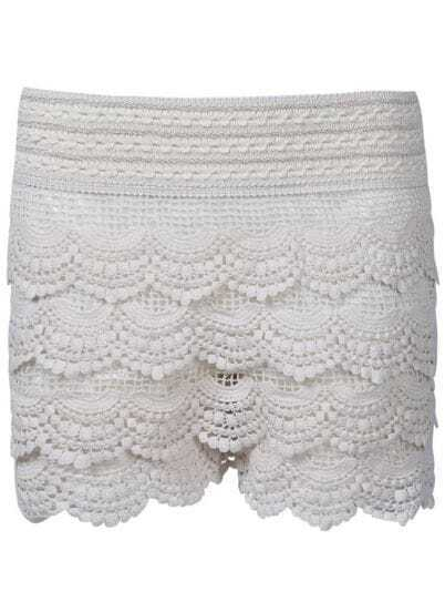 Beige Embroidery Hollow Lace Shorts