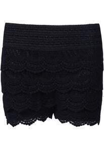 Black Embroidery Hollow Lace Shorts