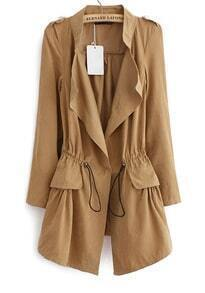 Khaki Long Sleeve Epaulet Drawstring Trench Coat