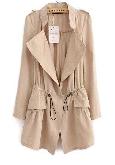 Beige Long Sleeve Epaulet Drawstring Trench Coat