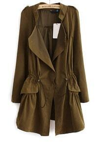 Army Green Long Sleeve Epaulet Drawstring Trench Coat