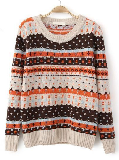 Beige Long Sleeve Striped Cross Pattern Sweater