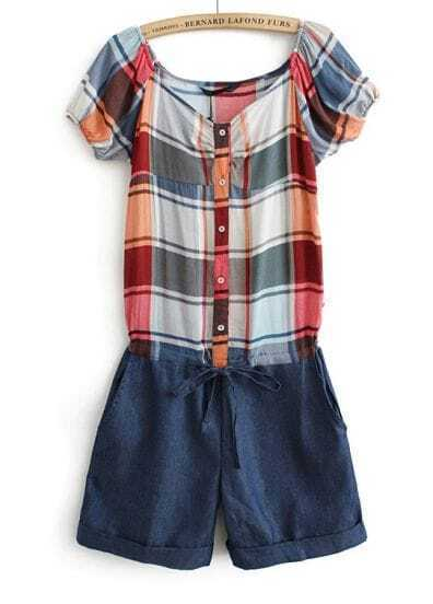 Red Blue Plaid Short Sleeve Drawstring Jumpsuits
