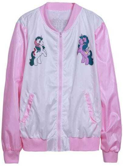Pink Stand Collar Long Sleeve Horse Print Jacket