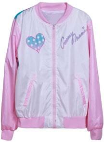 Pink Long Sleeve Cartoon Heart Print Jacket