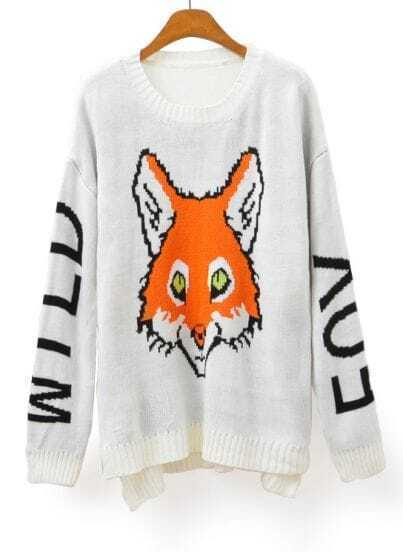 White Long Sleeve Fox Letters Print Loose Sweater