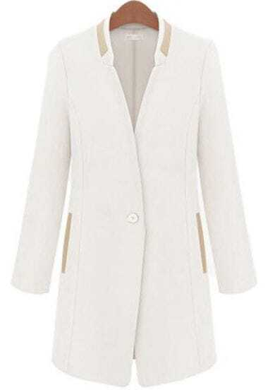 White Stand Collar Long Sleeve Long Blazer -SheIn(Sheinside)