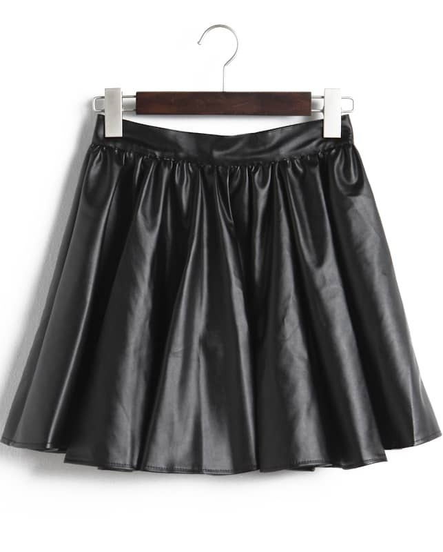 Black Pleated PU Leather Skirt -SheIn(Sheinside)