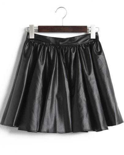 Black Pleated PU Leather Skirt