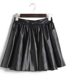 Black Pleated PU Leather Skirt