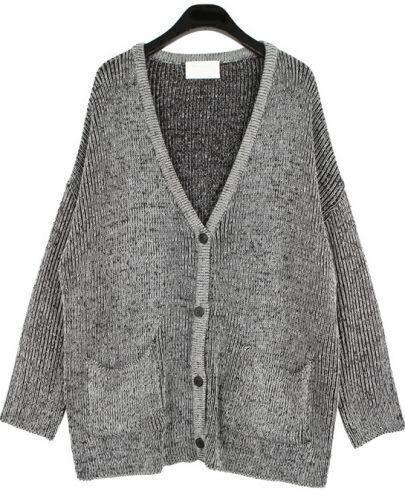 Grey V Neck Long Sleeve Pockets Knit Sweater