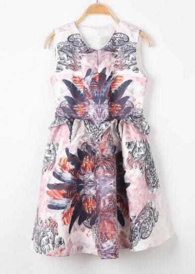 White Sleeveless Feather Print Ruffles Dress