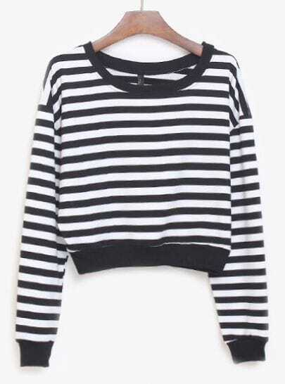 Black White Striped Long Sleeve Crop Sweatshirt