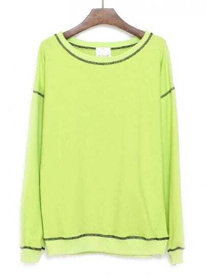 Green Long Sleeve Contrast Trims Loose Sweatshirt