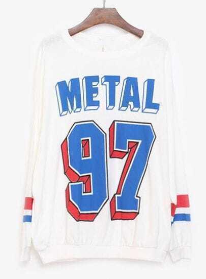 White Long Sleeve METAL 97 Print Loose Sweatshirt