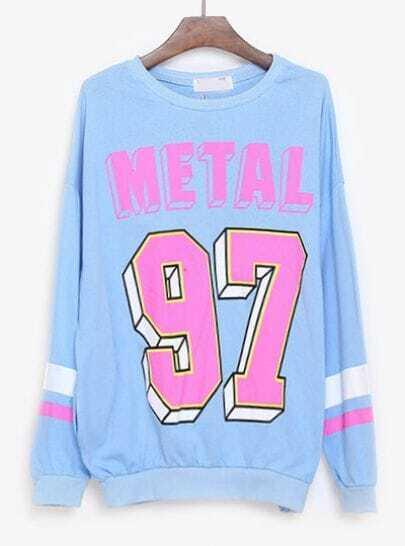 Blue Long Sleeve METAL 97 Print Loose Sweatshirt