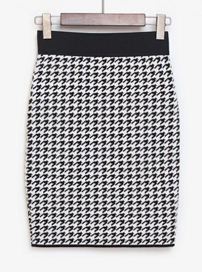 Black White Houndstooth Bodycon Skirt