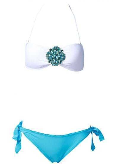 White Jeweled Bandeau Top with Blue Frill Bottom Bikini