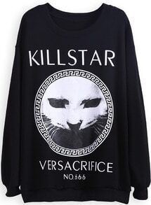 Black Long Sleeve KILLSTAR Cat Print Sweatshirt