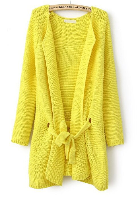 Light Yellow Long Sleeve Drawstring Loose Cardigan Sweater -SheIn ...