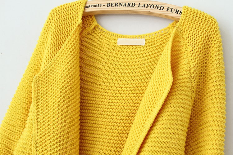 Yellow Long Sleeve Drawstring Loose Cardigan Sweater -SheIn(Sheinside)