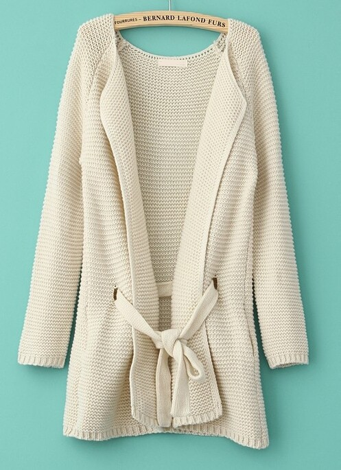 Beige Long Sleeve Drawstring Loose Cardigan Sweater -SheIn(Sheinside)