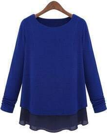 Blue Long Sleeve Contrast Chiffon Knit Sweater