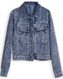 Blue Lapel Long Sleeve Pockets Crop Denim Jacket