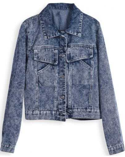 Blue Lapel Long Sleeve Pockets Crop Denim Jacket