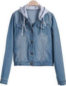 Blue Hooded Long Sleeve Crop Denim Jacket