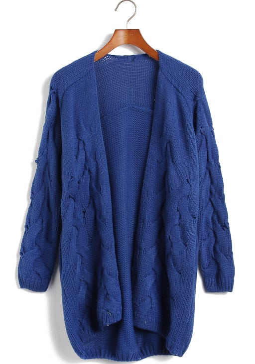 Blue Long Sleeve Cable Knit Cardigan Sweater -SheIn(Sheinside)