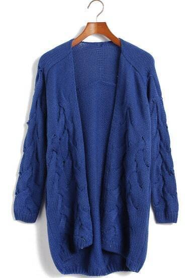 Blue Long Sleeve Cable Knit Cardigan Sweater