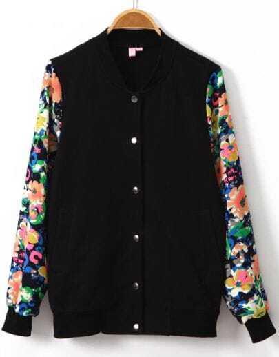 Black Contrast Floral Long Sleeve Tiger Print Jacket