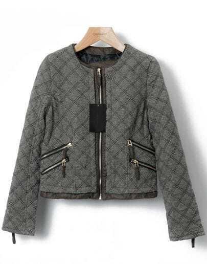 Grey Long Sleeve Diamond Plaid Zipper Jacket