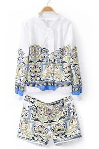 White Stand Collar Long Sleeve Floral Top With Shorts
