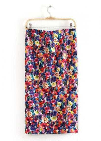 Multi Floral Split Straight Skirt
