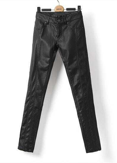 Black Low Waist Slim Leather Pant