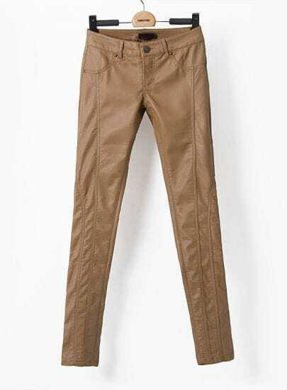 Brown Low Waist Slim Leather Pant