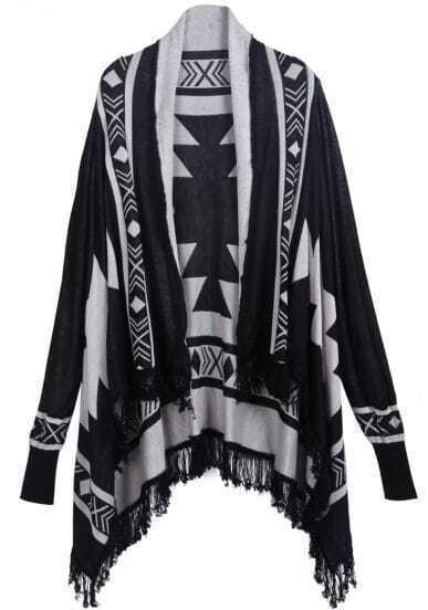 Black Long Sleeve Diamond Patterned Tassel Sweater