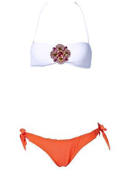 White Jeweled Bandeau Top with Coral Frill Bottom Bikini