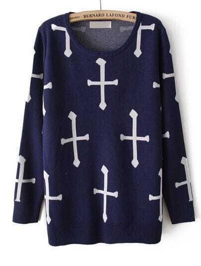 Navy Long Sleeve Cross Print Loose Sweater