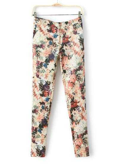 Apricot Casual Floral Back Pockets Pant
