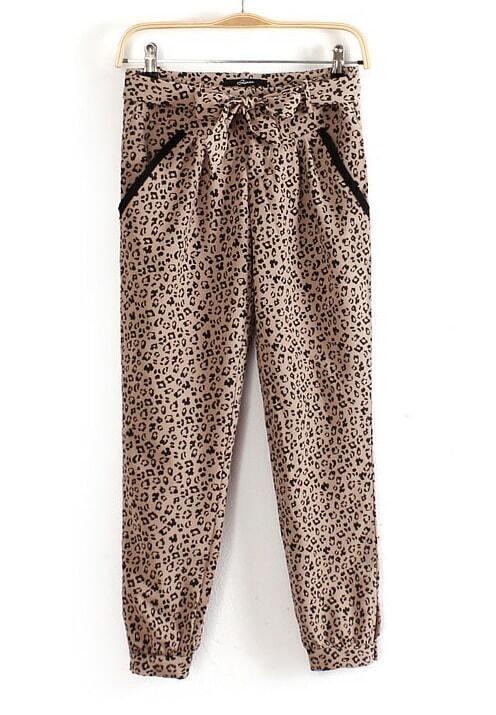 Pantalones sueltos bolsillos con cinturón-Leopardo-Spanish ...