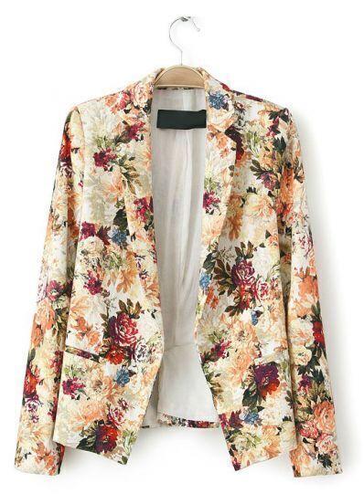Apricot Notch Lapel Long Sleeve Floral Blazer