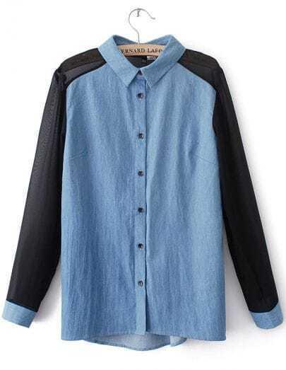 Blue Lapel Contrast Long Sleeve Denim Blouse