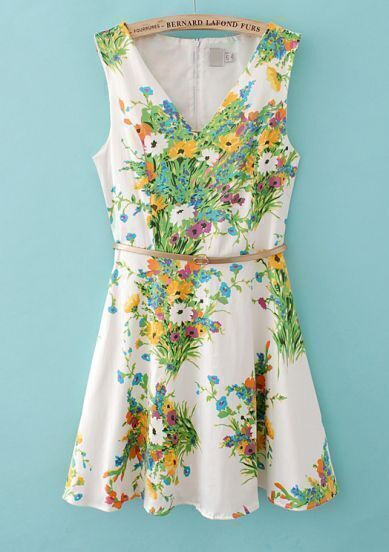 White V Neck Sleeveless Floral Belt Dress