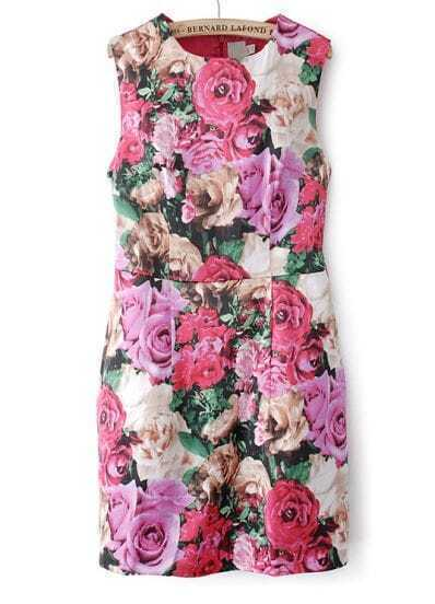 Red Sleeveless Floral Back Zipper Dress